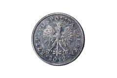 10 groszy польский злотый Валюта Польши Фото макроса монетки Польша показывает монетку groszy 10-заполированности Стоковое Изображение