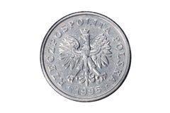 50 groszy польский злотый Валюта Польши Фото макроса монетки Польша показывает монетку groszy 50-заполированности Стоковая Фотография