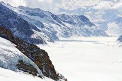 Grote Aletsch Gletsjer Jungfrau Zwitserland Royalty-vrije Stock Afbeeldingen