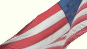 Grote Amerikaanse Vlag op Vlaggestok Close-up stock videobeelden