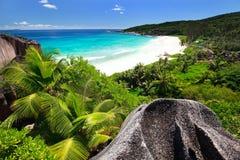 Grote Anse op het eiland van La Digue in Seychellen Royalty-vrije Stock Foto's