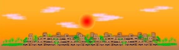 Grote Arabische stad bij zonsondergang vector illustratie