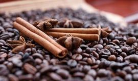 Grote aromatische koffiebonen, anijsplantkruid voor snoepjes, cakes, pijpjes kaneel, en kruidnagels Verschillende soorten kruiden Stock Foto