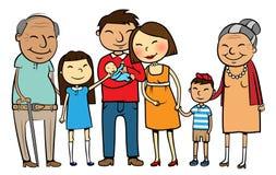 Grote Aziatische familie Royalty-vrije Stock Afbeeldingen