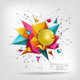 Grote bal voor geschiktheid, abstaktnyh 3D achtergrond van driehoeks modern ontwerp Stock Foto