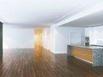 Grote binnenlandse woonkamer en eigentijdse keuken 3d geef terug Stock Foto