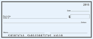 Grote blanco cheque - blauwe streepachtergrond Royalty-vrije Stock Fotografie
