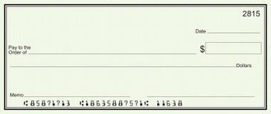 Grote blanco cheque - groene veiligheidsachtergrond Stock Afbeelding