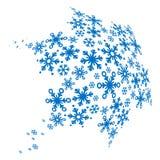 Grote blauwe sneeuwvlok die van kleine degenen wordt gemaakt Stock Afbeelding