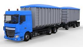 Grote blauwe vrachtwagen met afzonderlijke aanhangwagen, voor vervoer van landbouw en de bouw bulkmaterialen en producten het 3d  Royalty-vrije Stock Afbeelding