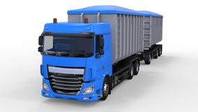 Grote blauwe vrachtwagen met afzonderlijke aanhangwagen, voor vervoer van landbouw en de bouw bulkmaterialen en producten het 3d  Royalty-vrije Stock Foto