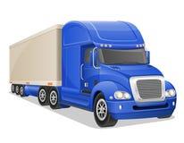 Grote blauwe vrachtwagen vectorillustratie Royalty-vrije Stock Afbeelding