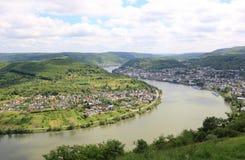 Grote boog van de Rijn-Vallei dichtbij Boppard, Duitsland. Royalty-vrije Stock Foto