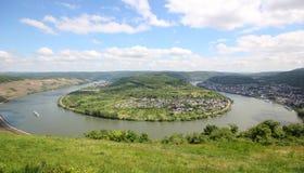 Grote boog van de Rijn-Vallei dichtbij Boppard, Duitsland. Royalty-vrije Stock Afbeeldingen