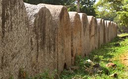 Grote boogrij van de muur van het vellorefort met bomenlandschap Stock Foto