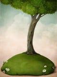 Grote boom op het gazon. royalty-vrije illustratie