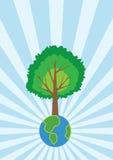 Grote boom op kleine wereld Royalty-vrije Stock Afbeeldingen