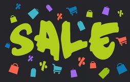 Grote borstel groene verkoop met het winkelen pictogrammen op dark Stock Afbeelding