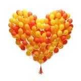 Grote bos van partijballons. De vorm van het hart Stock Foto's