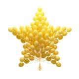 Grote bos van partijballons. Gevormde ster. Geïsoleerd op witte rug Stock Foto's