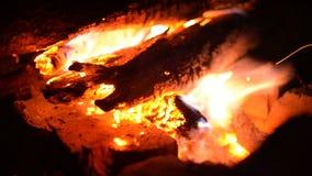 Grote brand van een brand op een achtergrond van wilde aard met stenen Close-upreis, avonturen hete vlam Een comfortabele avond b stock video