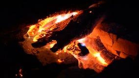 Grote brand van een brand op een achtergrond van wilde aard met stenen Close-upreis, avonturen hete vlam Een comfortabele avond b stock videobeelden