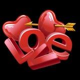 Grote brieven van liefde, rood hart en gouden pijl Royalty-vrije Stock Afbeeldingen