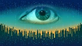 Grote broer - concept elektronisch alle-ziet oog, de technologie van globaal toezicht stock illustratie