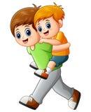 Grote broer die op de rug rit jongere broer doen stock illustratie