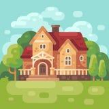 Grote buitenhuis vlakke illustratie Moderne het huisachtergrond van het land vector illustratie
