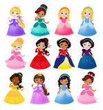 Grote Bundel leuke inzameling van mooie prinsessen vector illustratie