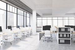 Grote bureauruimte met computers stock illustratie