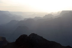 Grote Canion bij zonsondergang stock fotografie