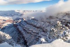 Grote Canion in de winter van zuidenrand Sneeuw, wolken op canion struiken in voorgrond royalty-vrije stock fotografie