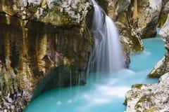 Grote canion van Soca-rivier, Slovenië Stock Afbeelding