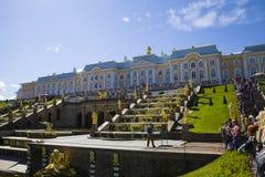 Grote cascade bij Pertergof-Paleis Heilige-Petersburg, Rusland Stock Fotografie
