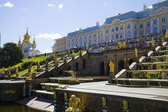 Grote cascade bij Pertergof-Paleis Heilige-Petersburg, Rusland Stock Foto