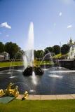 Grote cascade bij Pertergof-Paleis Heilige-Petersburg, Rusland Stock Foto's
