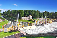 Grote cascade in Pertergof, heilige-Petersburg Royalty-vrije Stock Afbeeldingen