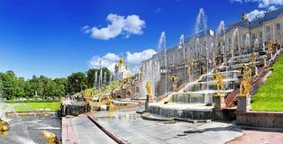 Grote cascade in Pertergof, St. Petersburg Royalty-vrije Stock Fotografie