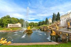 Grote cascade in Peterhof, heilige-Petersburg, Rusland Stock Afbeelding