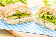 Grote ciabattasandwich met tonijn, groen, appel en komkommer Royalty-vrije Stock Afbeelding