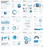 Grote colletion van blauwe infographic bedrijfs vectorelementen Stock Foto
