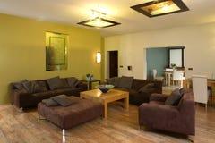 Grote, comfortabele woonkamer Stock Fotografie