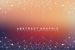 Grote complexe gegevens Grafische abstracte mededeling als achtergrond Perspectiefachtergrond van diepte Minimale serie met samen Stock Foto