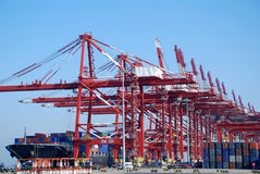 Grote containerterminal in Qingdao, China Royalty-vrije Stock Fotografie