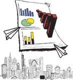 Grote 3d grafiek met cityscape krabbel Stock Afbeeldingen