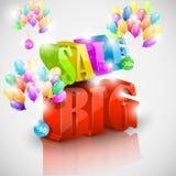 Grote 3D verkoop met kleurrijke bellen Royalty-vrije Stock Foto