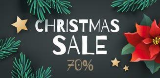 Grote de bevorderingsbanner of vlieger van de Kerstmisverkoop Stock Fotografie