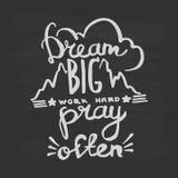 Grote de droom, werkt hard, bidt vaak de kalligrafie van het handschriftmonogram De gegraveerde vector van de inktkunst royalty-vrije illustratie